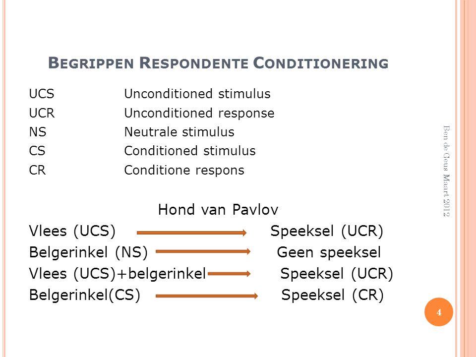 Begrippen Respondente Conditionering
