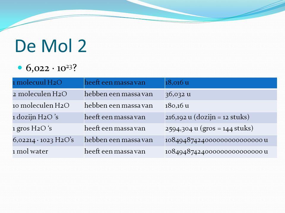 De Mol 2 6,022 · 1023 1 molecuul H2O heeft een massa van 18,016 u