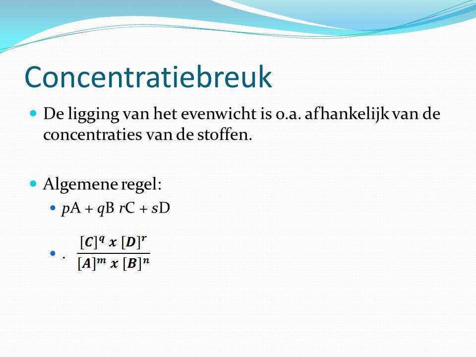 Concentratiebreuk De ligging van het evenwicht is o.a. afhankelijk van de concentraties van de stoffen.