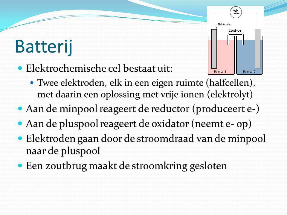 Batterij Elektrochemische cel bestaat uit: