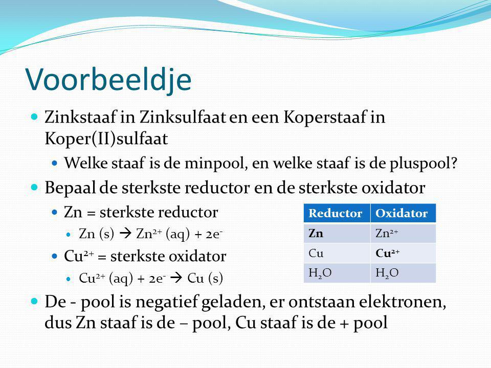 Voorbeeldje Zinkstaaf in Zinksulfaat en een Koperstaaf in Koper(II)sulfaat. Welke staaf is de minpool, en welke staaf is de pluspool