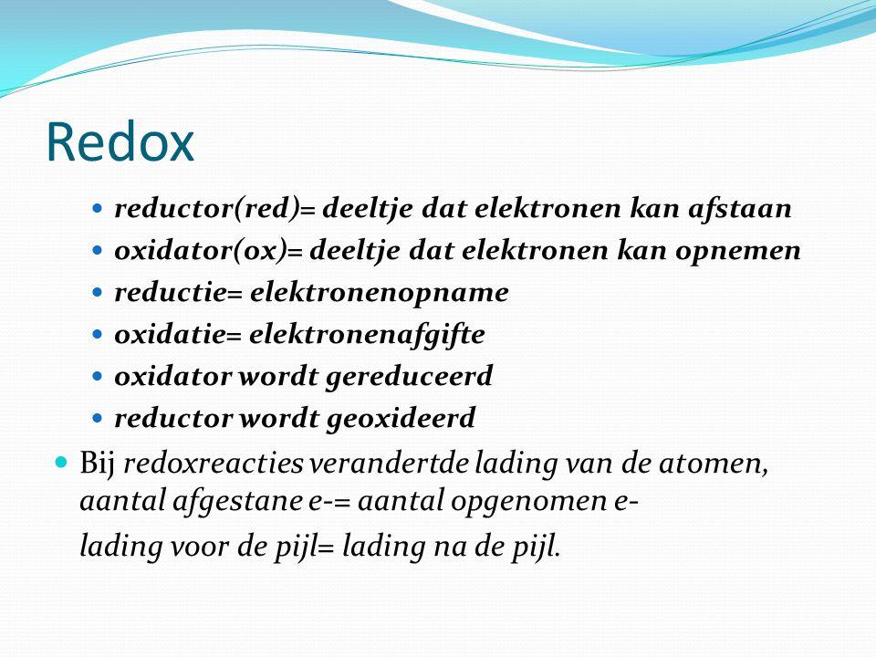 Redox reductor(red)= deeltje dat elektronen kan afstaan. oxidator(ox)= deeltje dat elektronen kan opnemen.