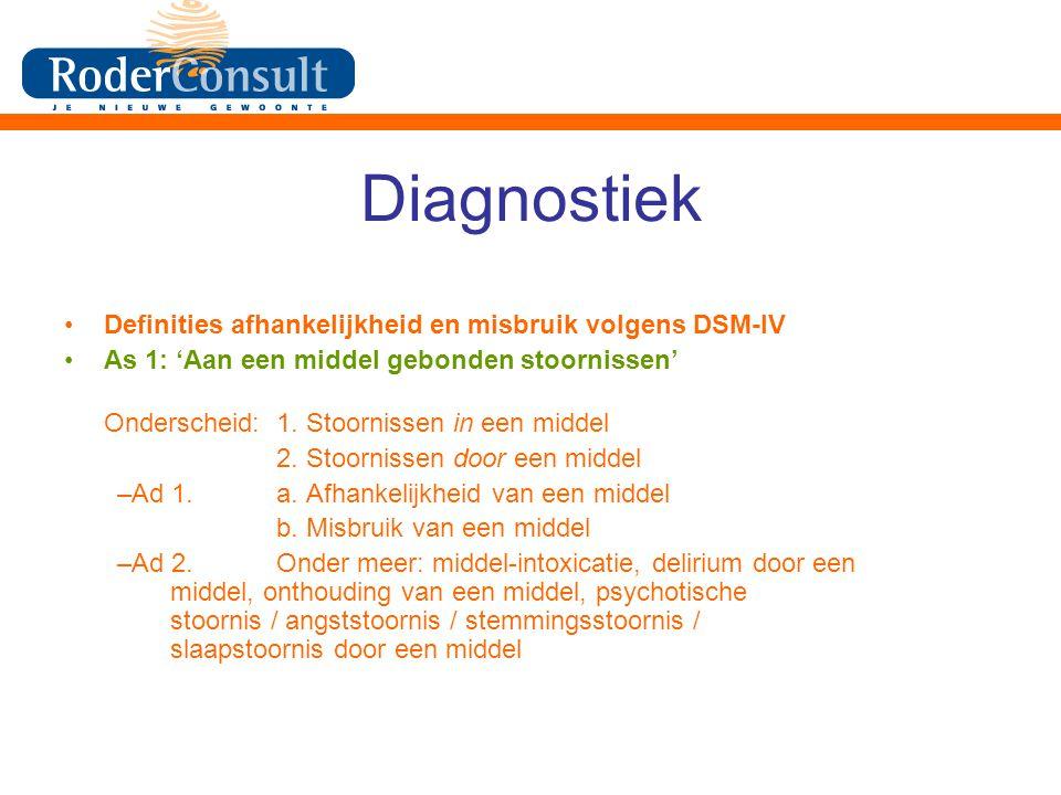Diagnostiek Definities afhankelijkheid en misbruik volgens DSM-IV