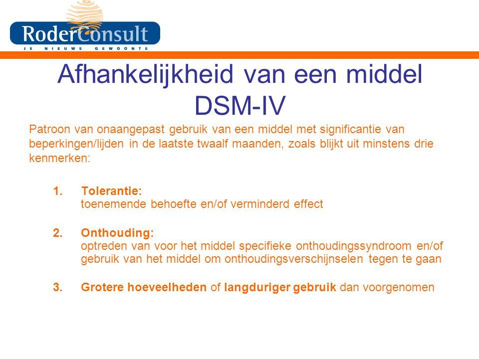 Afhankelijkheid van een middel DSM-IV