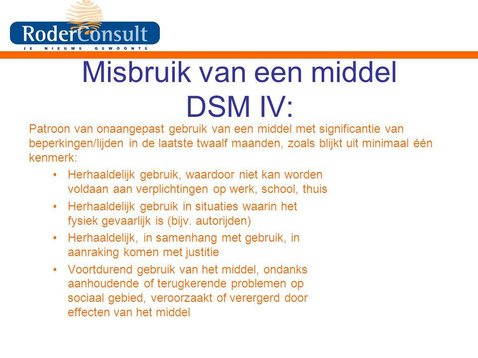 Misbruik van een middel DSM IV: