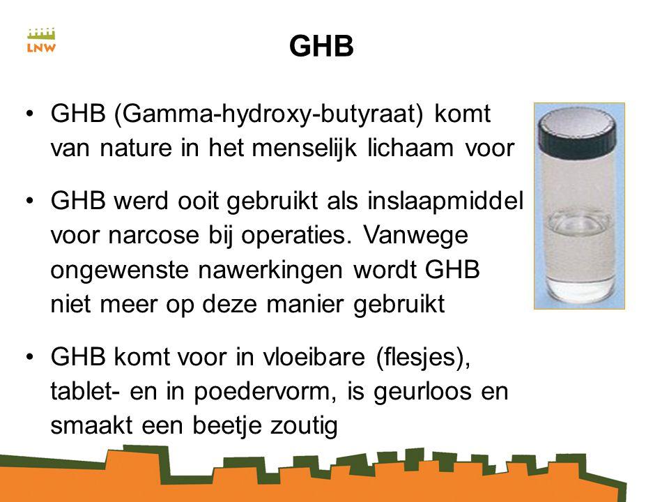 GHB GHB (Gamma-hydroxy-butyraat) komt van nature in het menselijk lichaam voor.