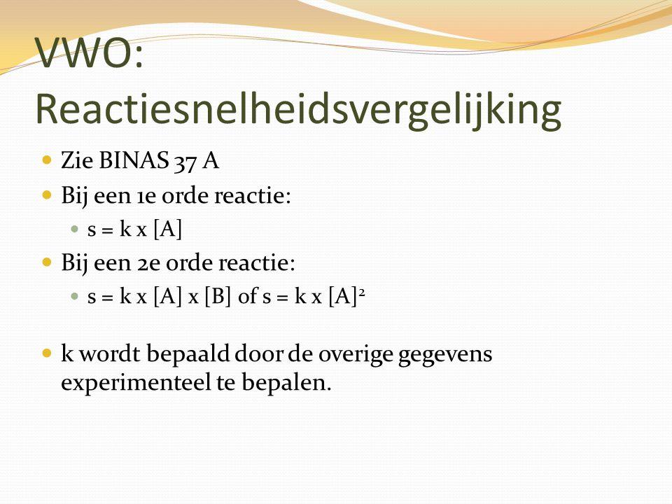 VWO: Reactiesnelheidsvergelijking