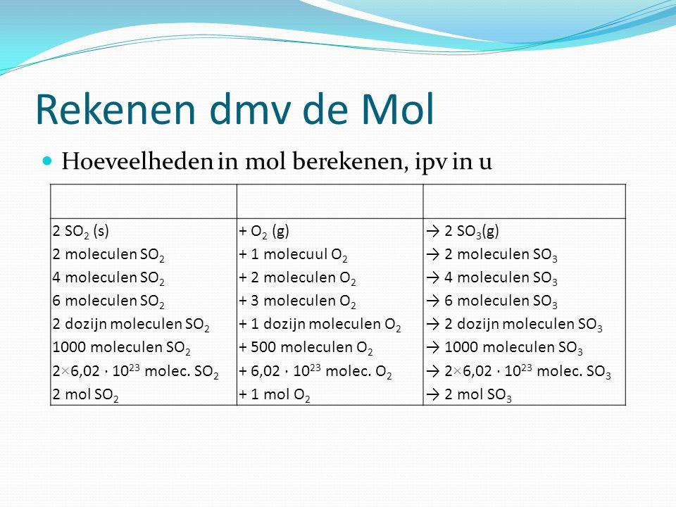 Rekenen dmv de Mol Hoeveelheden in mol berekenen, ipv in u 2 SO2 (s)
