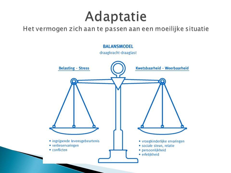 Adaptatie Het vermogen zich aan te passen aan een moeilijke situatie