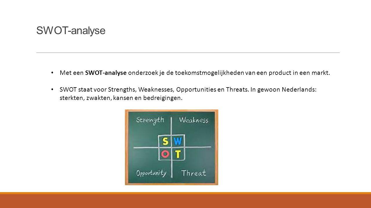 SWOT-analyse Met een SWOT-analyse onderzoek je de toekomstmogelijkheden van een product in een markt.