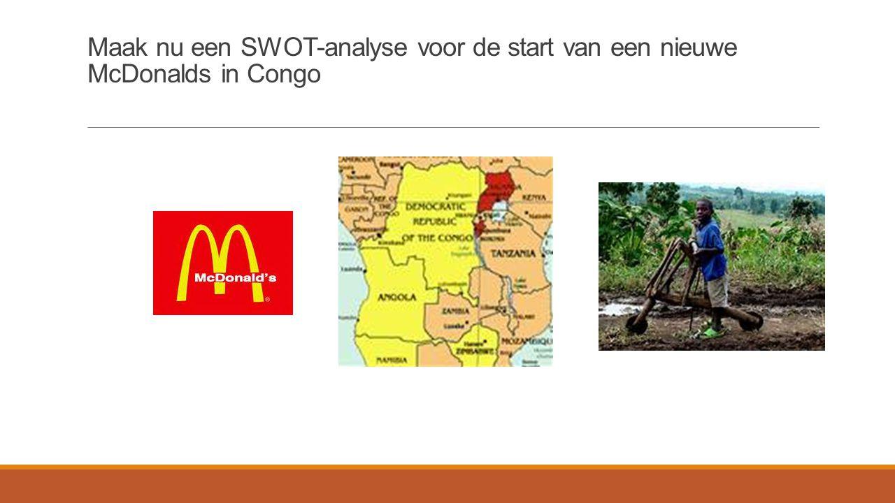 Maak nu een SWOT-analyse voor de start van een nieuwe McDonalds in Congo