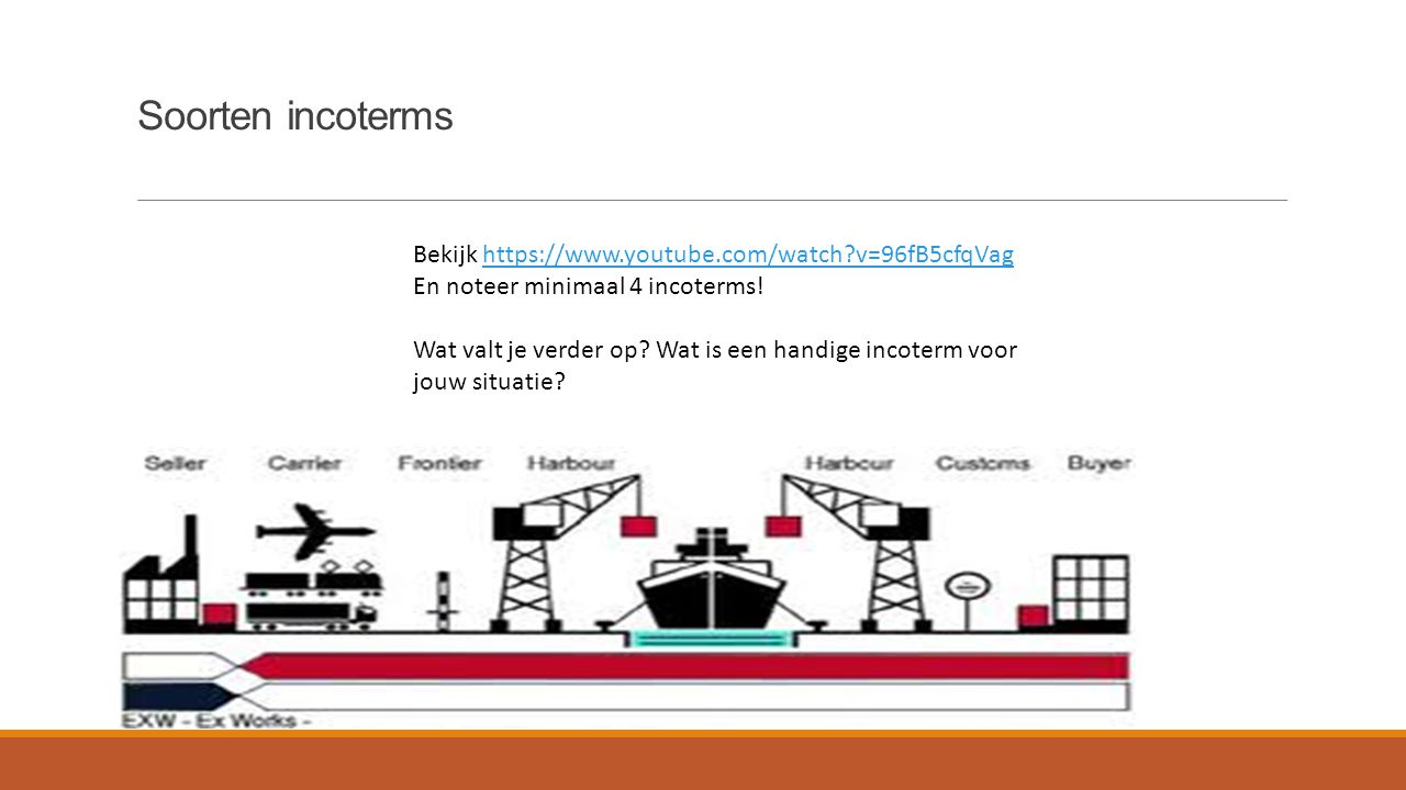 Soorten incoterms Bekijk https://www.youtube.com/watch v=96fB5cfqVag