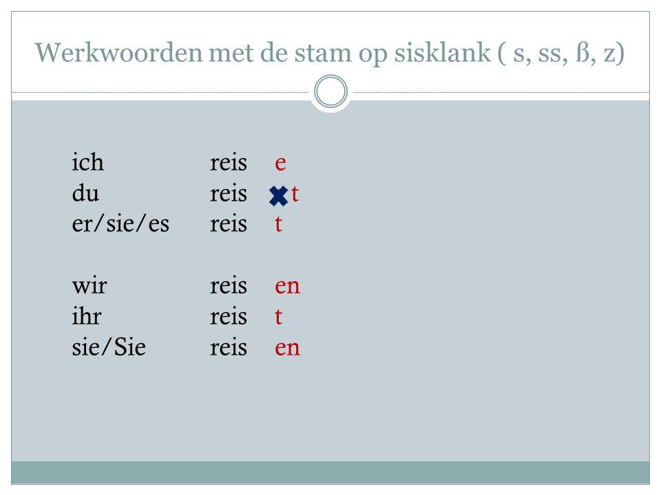Werkwoorden met de stam op sisklank ( s, ss, ß, z)