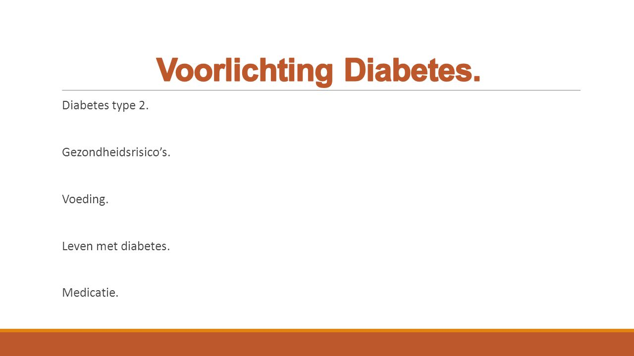 Voorlichting Diabetes.