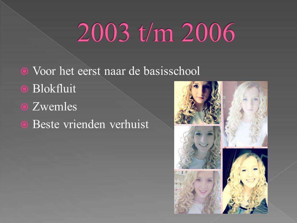 2003 t/m 2006 Voor het eerst naar de basisschool Blokfluit Zwemles
