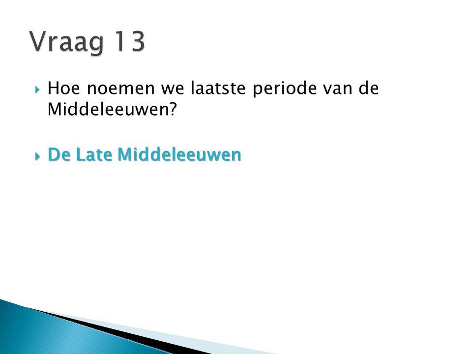 Vraag 13 Hoe noemen we laatste periode van de Middeleeuwen