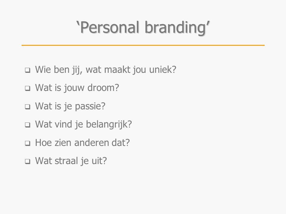 'Personal branding' Wie ben jij, wat maakt jou uniek