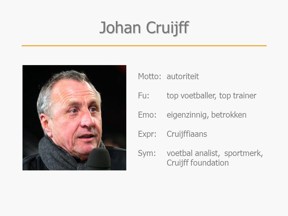 Johan Cruijff Motto: autoriteit Fu: top voetballer, top trainer