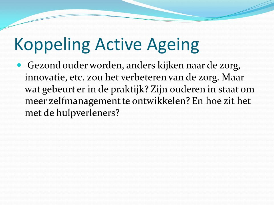 Koppeling Active Ageing