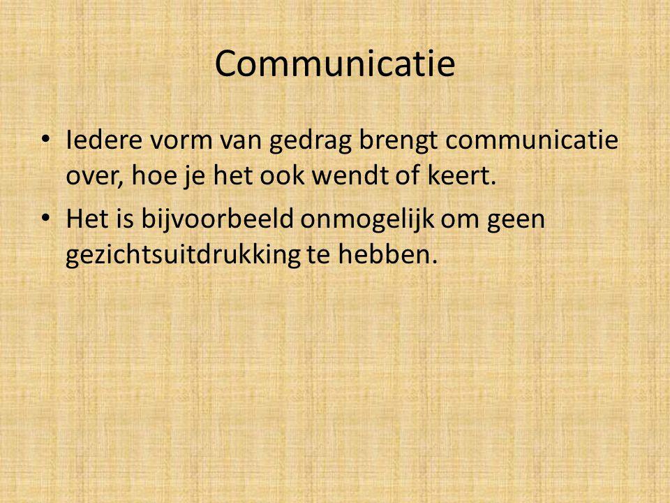 Communicatie Iedere vorm van gedrag brengt communicatie over, hoe je het ook wendt of keert.