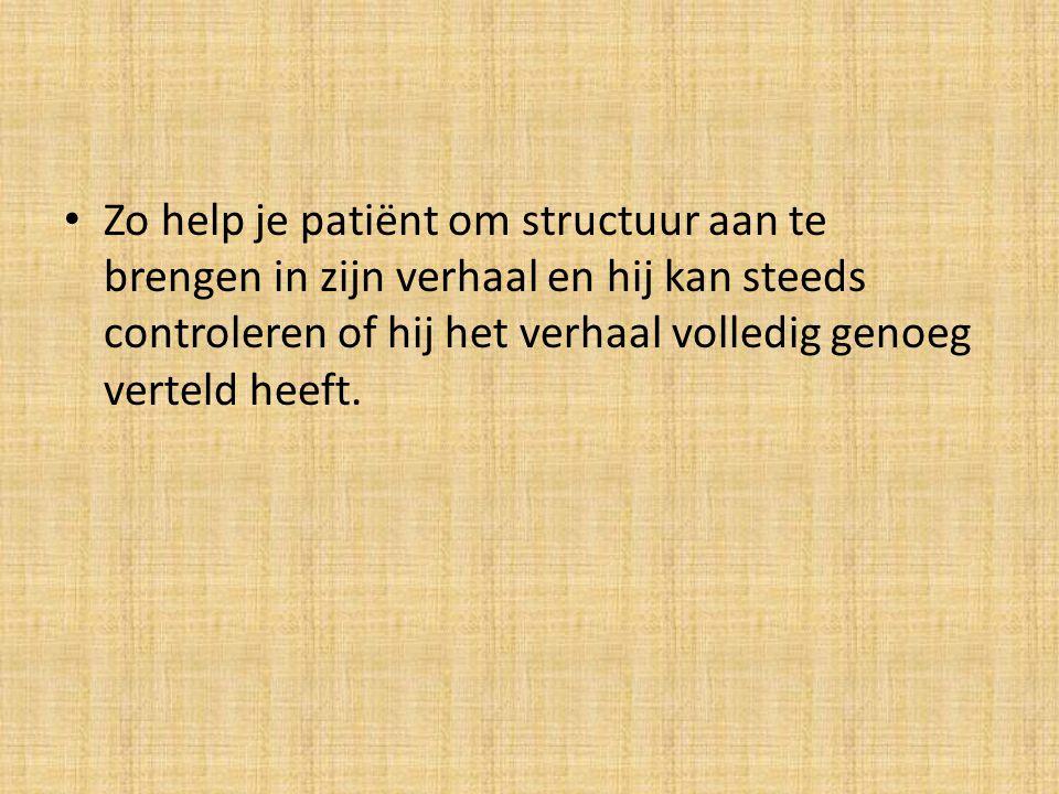 Zo help je patiënt om structuur aan te brengen in zijn verhaal en hij kan steeds controleren of hij het verhaal volledig genoeg verteld heeft.