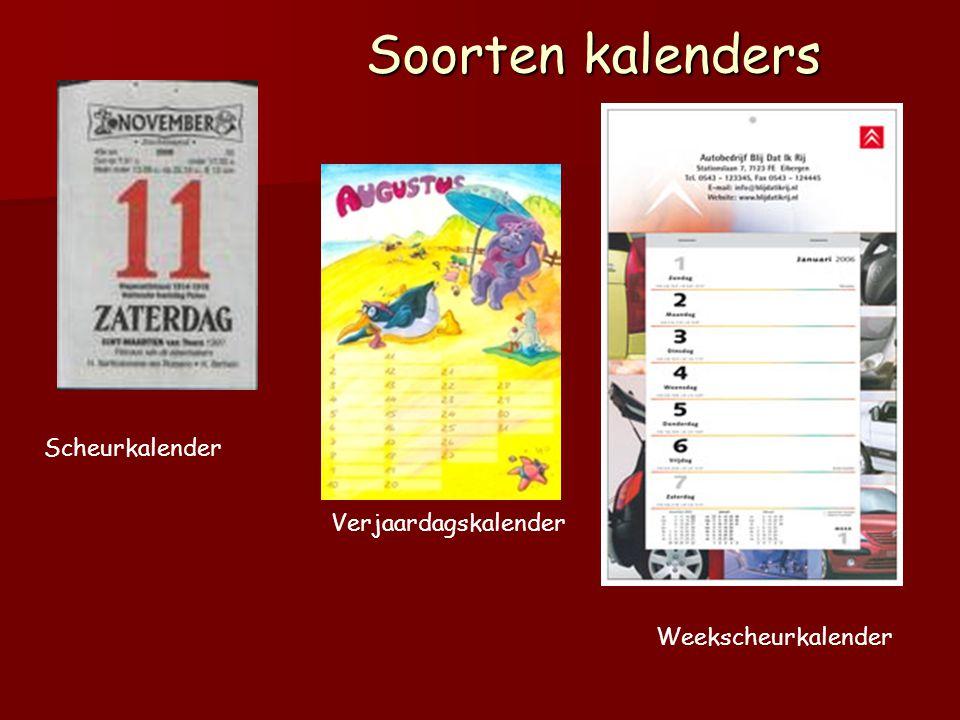 Soorten kalenders Scheurkalender Verjaardagskalender