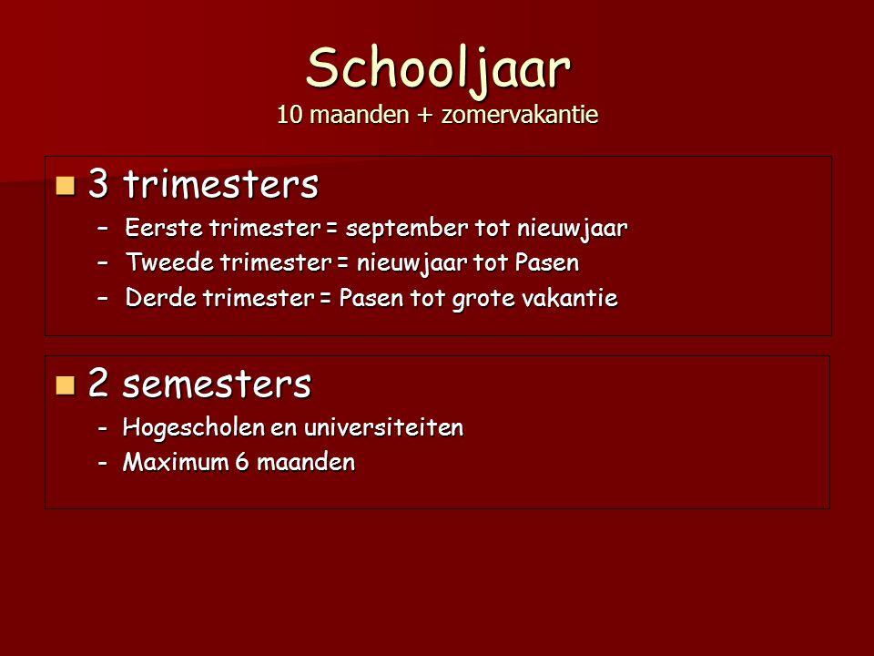 Schooljaar 10 maanden + zomervakantie