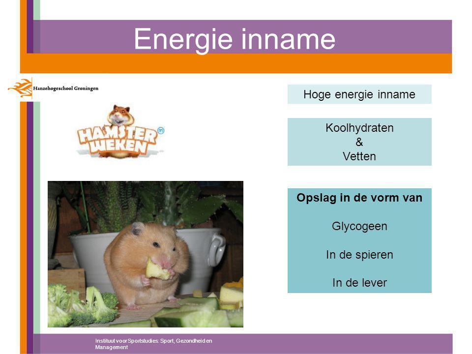 Energie inname Hoge energie inname Koolhydraten & Vetten