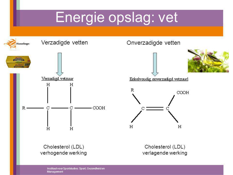 Energie opslag: vet Verzadigde vetten Onverzadigde vetten