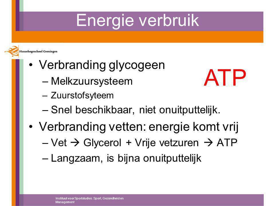 ATP Energie verbruik Verbranding glycogeen