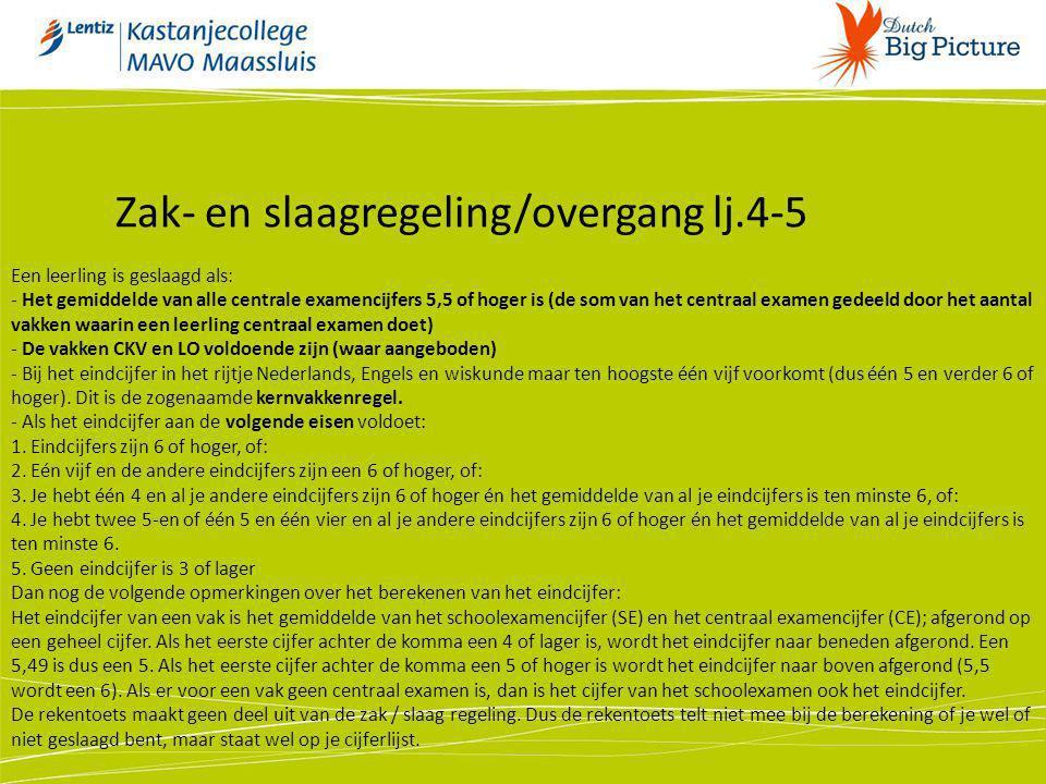 Zak- en slaagregeling/overgang lj.4-5
