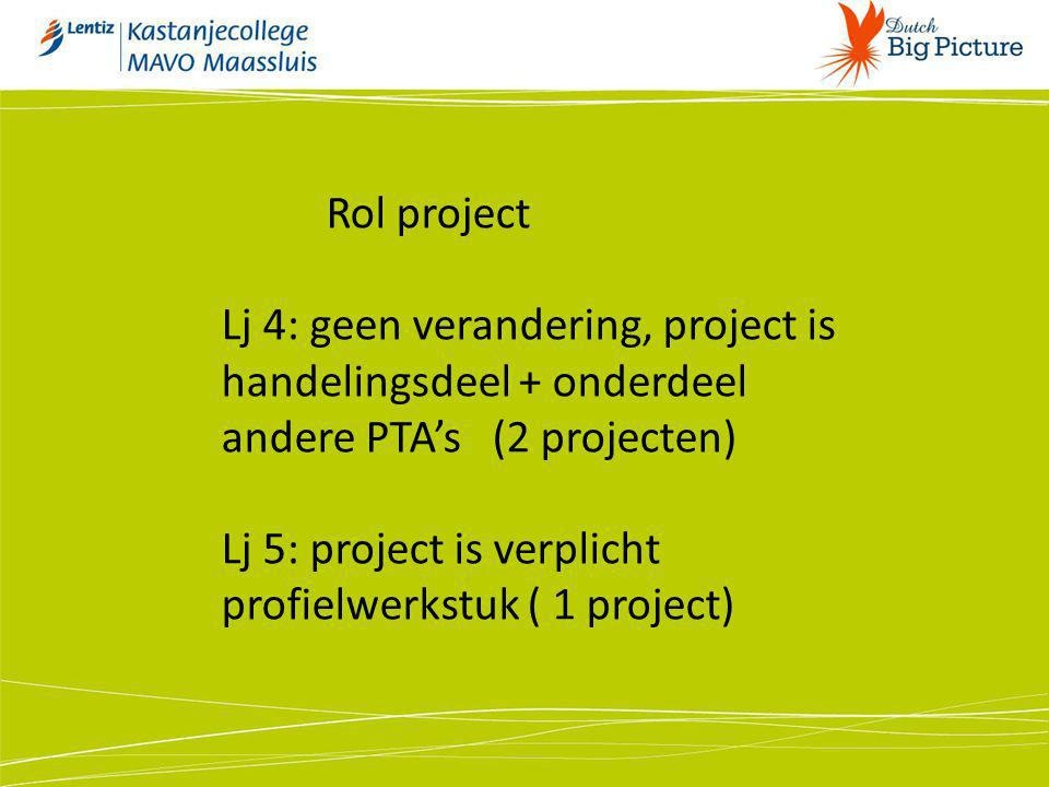 Lj 5: project is verplicht profielwerkstuk ( 1 project)