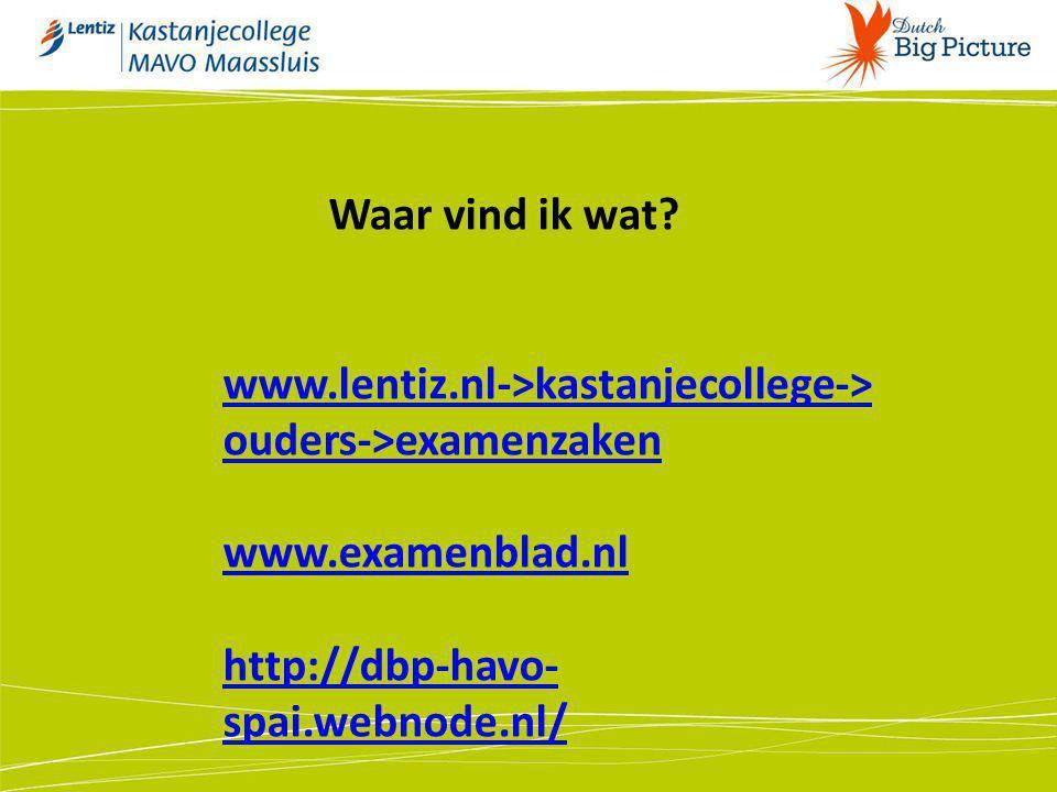 www.lentiz.nl->kastanjecollege-> ouders->examenzaken