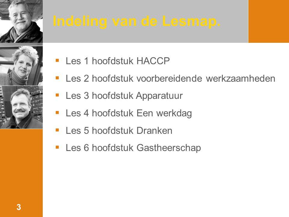 Indeling van de Lesmap. Les 1 hoofdstuk HACCP