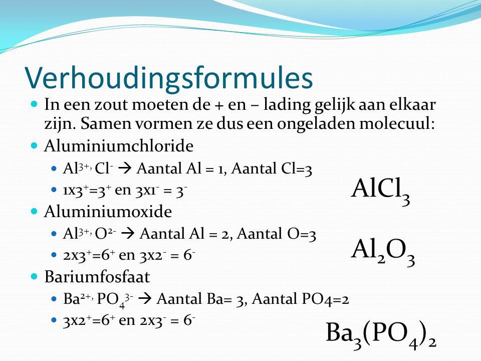 Verhoudingsformules AlCl3 Al2O3 Ba3(PO4)2