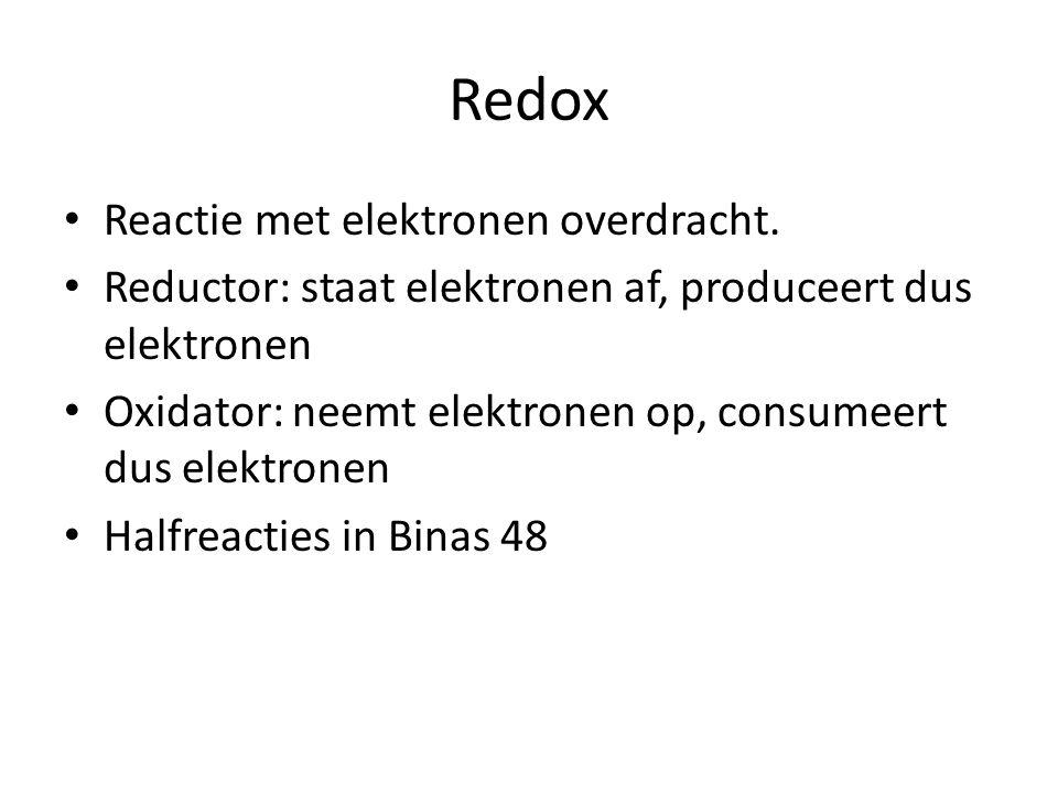 Redox Reactie met elektronen overdracht.