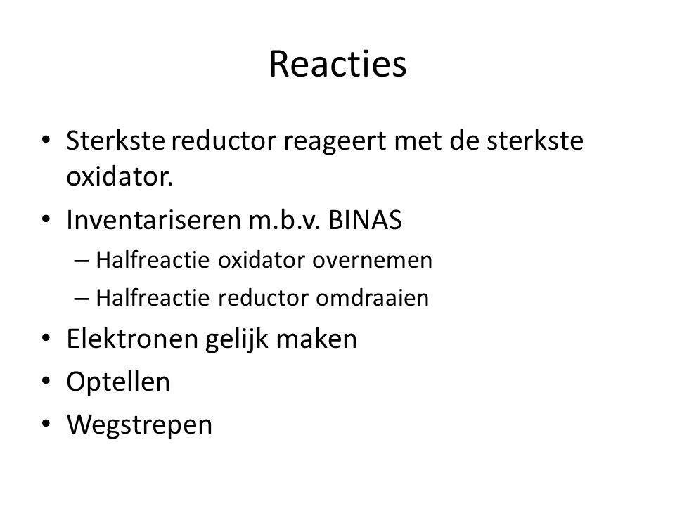 Reacties Sterkste reductor reageert met de sterkste oxidator.