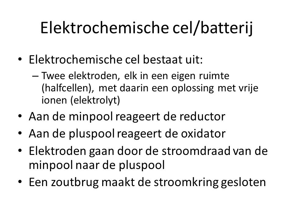 Elektrochemische cel/batterij