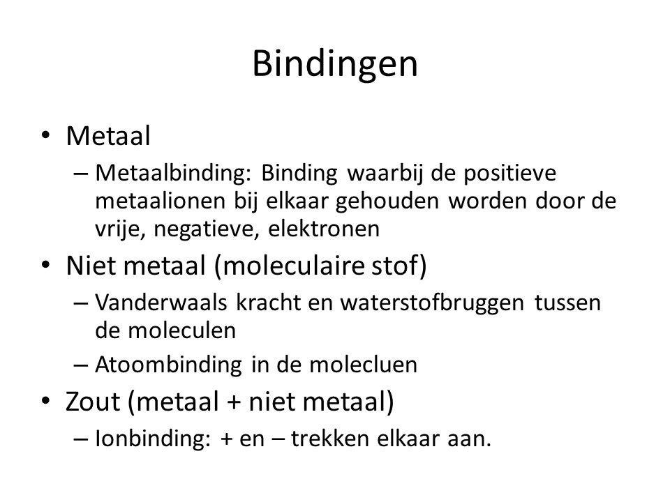 Bindingen Metaal Niet metaal (moleculaire stof)