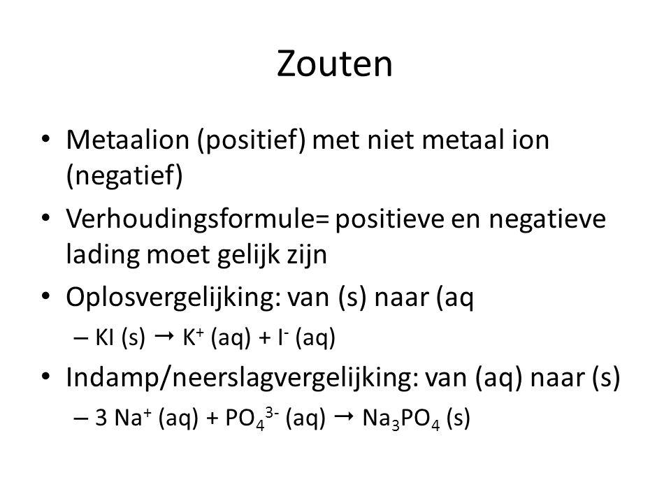 Zouten Metaalion (positief) met niet metaal ion (negatief)