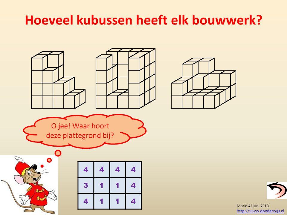 Hoeveel kubussen heeft elk bouwwerk