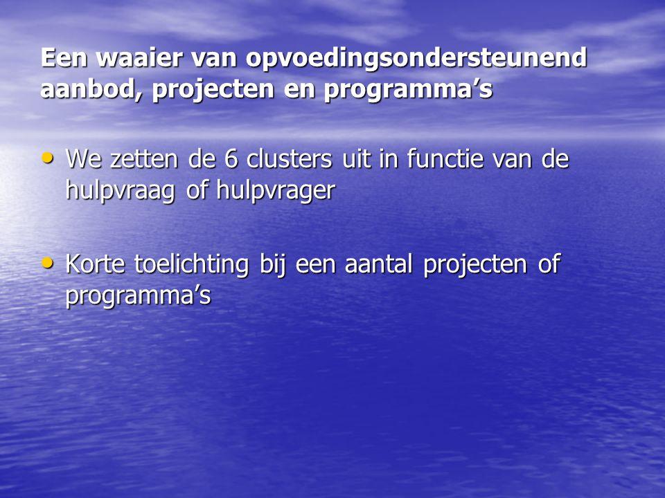Een waaier van opvoedingsondersteunend aanbod, projecten en programma's