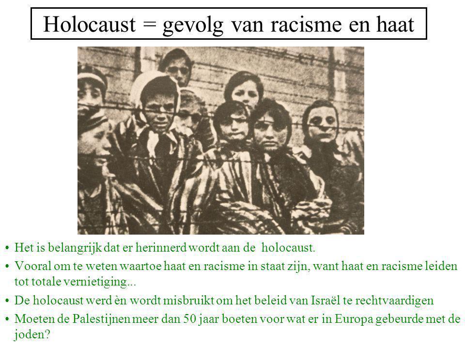 Holocaust = gevolg van racisme en haat