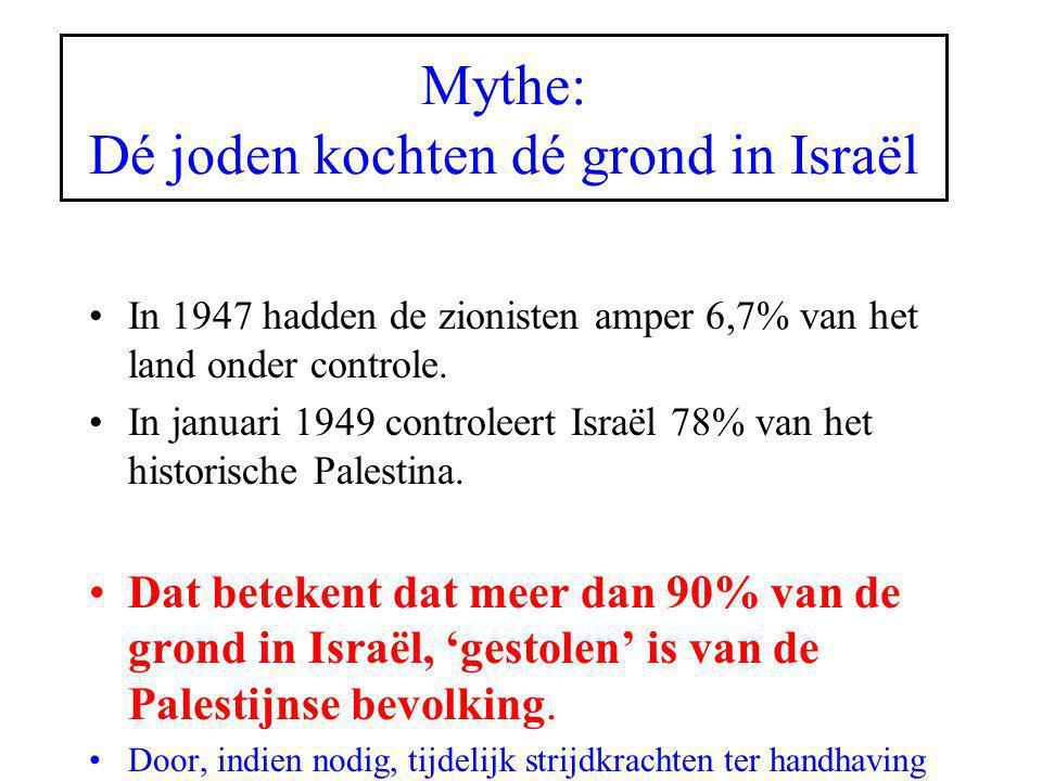 Mythe: Dé joden kochten dé grond in Israël