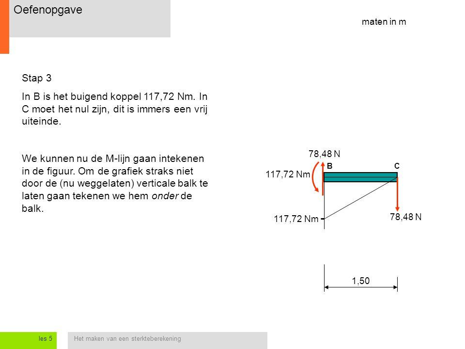 Oefenopgave maten in m. Stap 3. In B is het buigend koppel 117,72 Nm. In C moet het nul zijn, dit is immers een vrij uiteinde.