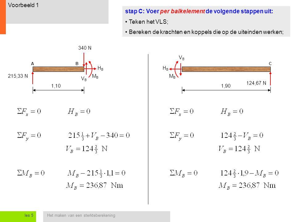 stap C: Voer per balkelement de volgende stappen uit: Teken het VLS;
