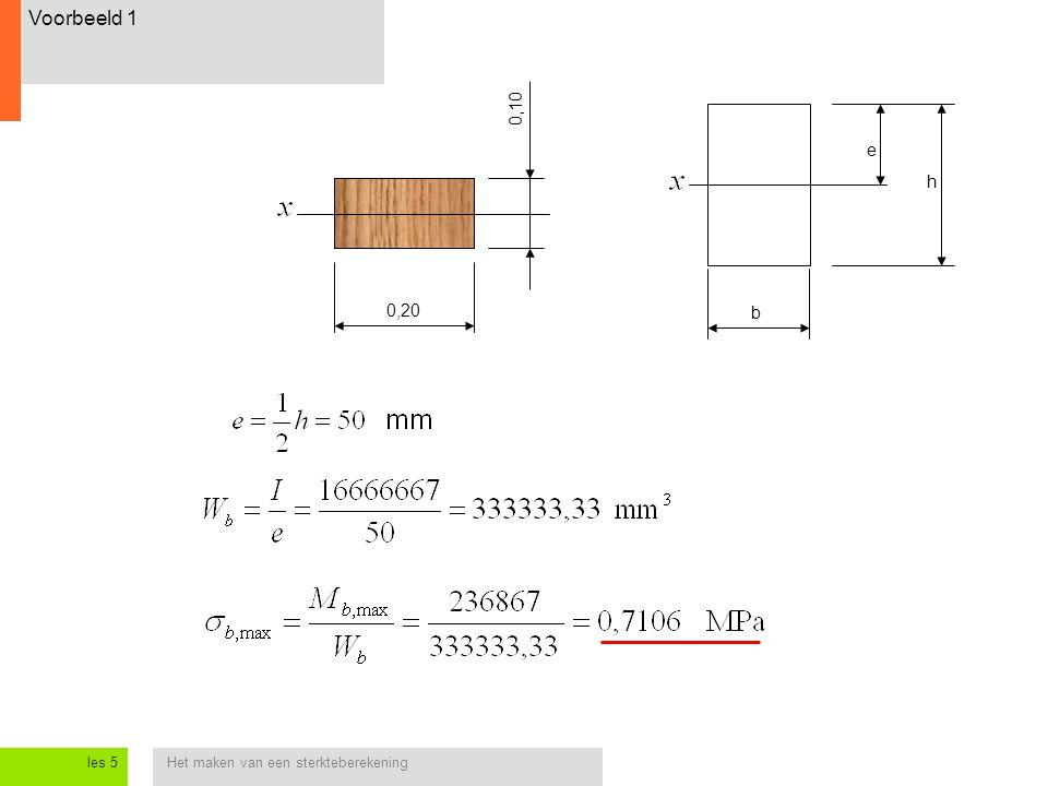 Voorbeeld 1 0,10 e h 0,20 b les 5