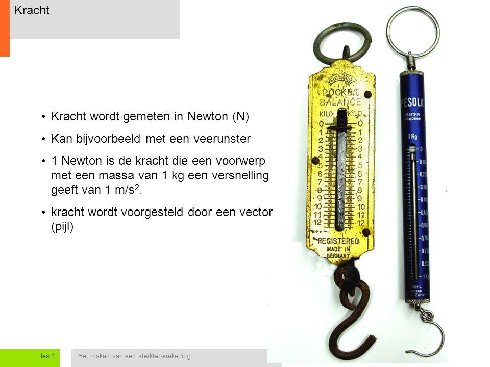 Kracht wordt gemeten in Newton (N) Kan bijvoorbeeld met een veerunster