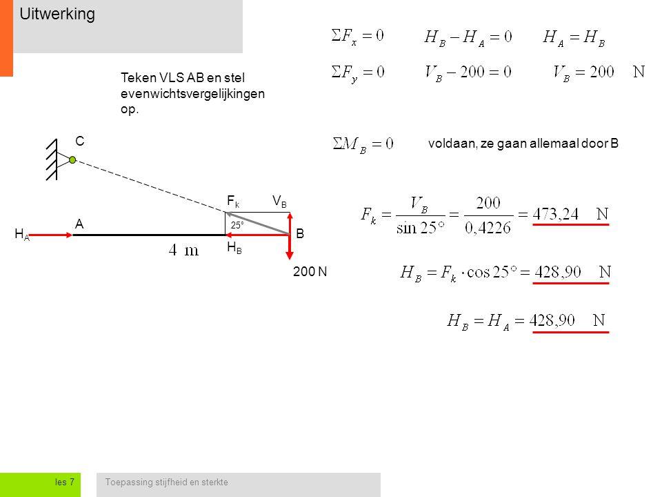 Uitwerking Teken VLS AB en stel evenwichtsvergelijkingen op. C
