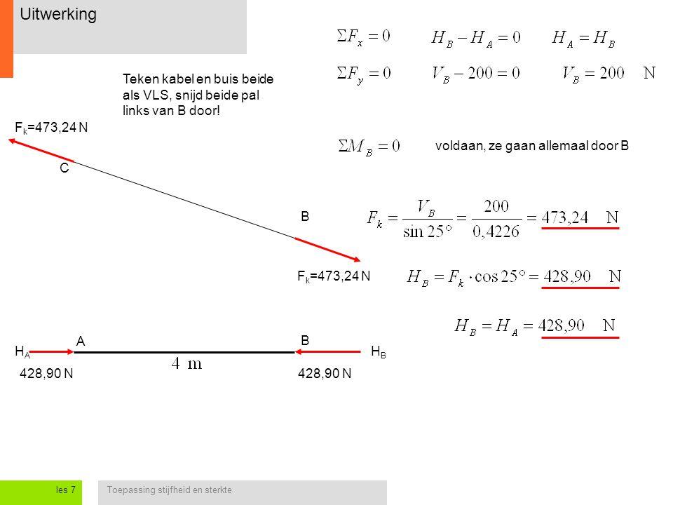 Uitwerking Teken kabel en buis beide als VLS, snijd beide pal links van B door! Fk=473,24 N. voldaan, ze gaan allemaal door B.